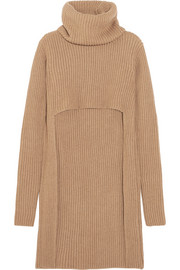 Balmain Cutout ribbed wool turtleneck sweater