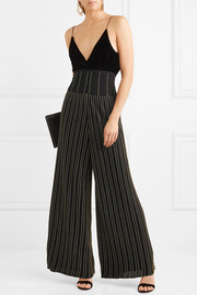 Metallic striped pleated stretch-knit wide-leg pants