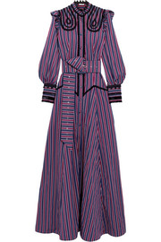 Erdem Iconia embroidered striped cotton-poplin gown
