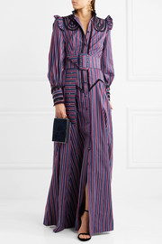 Iconia embroidered striped cotton-poplin gown