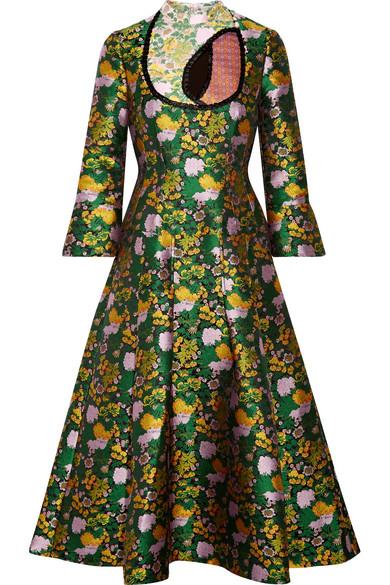 Erdem - Geneva Cutout Pleated Jacquard Midi Dress - Green
