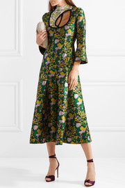 Geneva cutout pleated jacquard midi dress