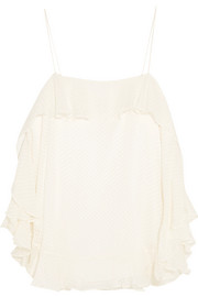 Zimmermann Folly ruffled silk-blend chiffon camisole