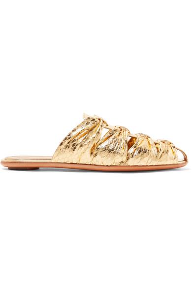 The Row Leathers Capri metallic elaphe slippers
