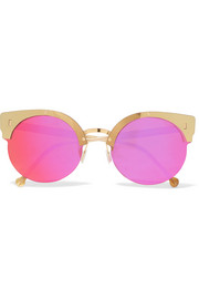 Era round-frame acetate and gold-tone mirrored sunglasses