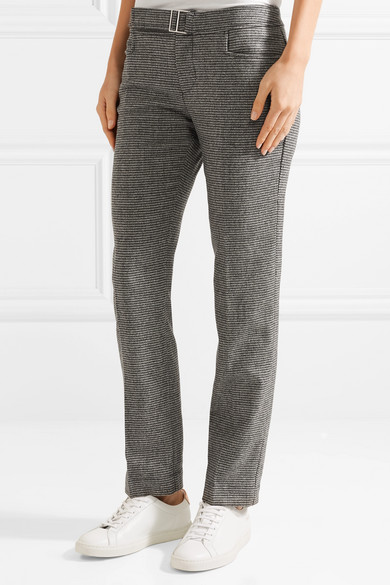 Hazen Houndstooth Wool-blend Straight-leg Pants - Black Simon Miller KzbgWVzfP