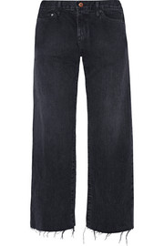 W005 Tilson cropped frayed mid-rise wide-leg jeans