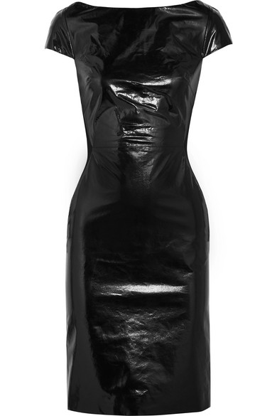 ba3dfef8cf Gareth Pugh. Glossed-leather and jersey dress