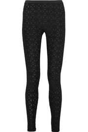 Flocked jacquard-knit leggings