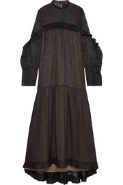 Dolores leather-trimmed ruffled silk-blend chiffon maxi dress