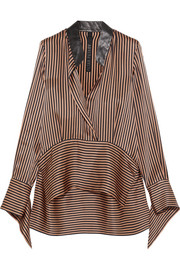 Leather-trimmed asymmetric striped silk-satin blouse