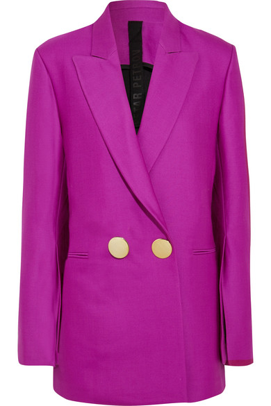 Double-breasted wool and silk-blend blazer