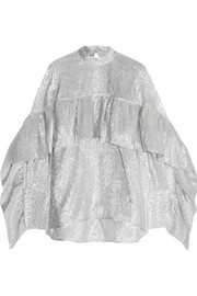 Ruffled metallic silk-blend blouse
