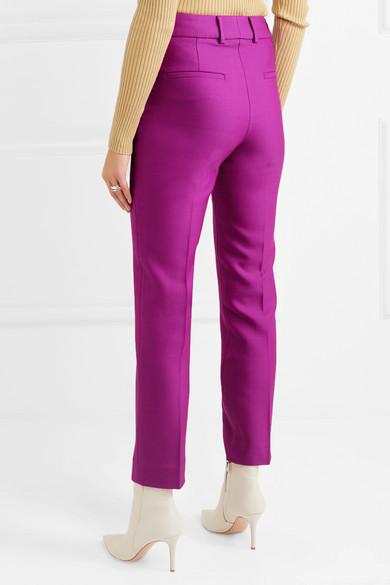Hano Wool And Silk-blend Slim-leg Pants - Purple Petar Petrov lnGpC4g