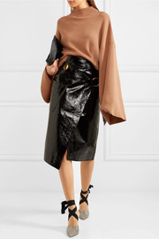 Crinkled patent-leather wrap skirt