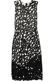 Proenza Schouler Two-tone glossed cotton-blend lace and crepe midi dress
