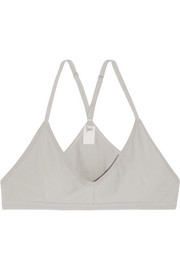 Ribbed organic stretch-cotton soft-cup triangle bra