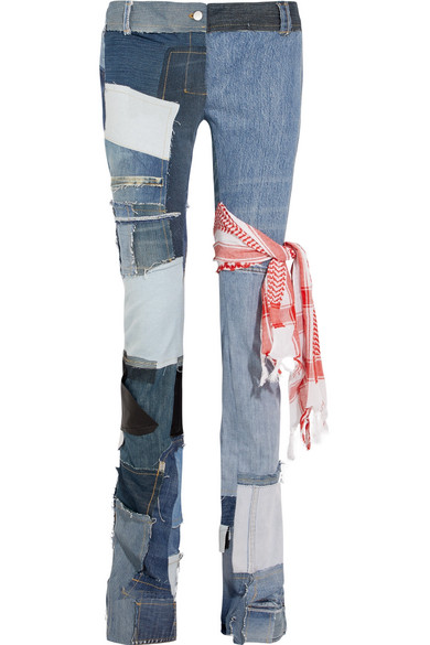 Patchwork Mid-Rise Straight-Leg Jeans in Blue