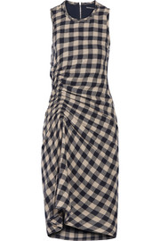 James Perse Ruched checked wool and linen-blend dress