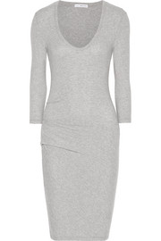 James Perse Pintucked brushed stretch-cotton jersey mini dress