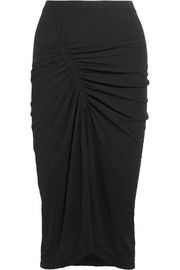 James Perse Spiral gathered cotton-jersey midi skirt