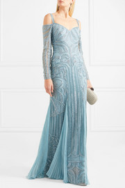 Cold-shoulder embellished silk-bend lace gown