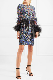Feather-trimmed embroidered silk-blend tulle mini dress