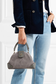 Demi leather-trimmed suede shoulder bag