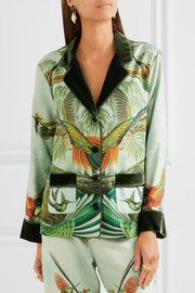 Ade velvet-trimmed printed silk-twill pajama shirt