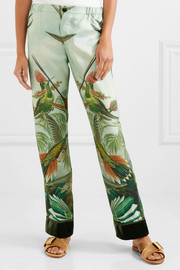 Etere velvet-trimmed printed silk-twill pajama pants