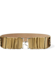 Ruched leather and printed velvet belt