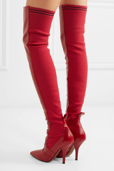 c55089a2346 Fendi. Rockoko leather and ribbed-knit thigh boots.  1