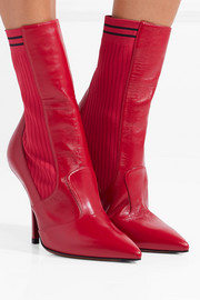 Fendi Rockoko stretch-knit and leather sock boots