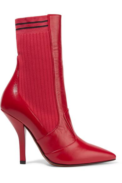5b7fc5100407f Fendi | Rockoko leather and ribbed stretch-knit sock boots | NET-A ...