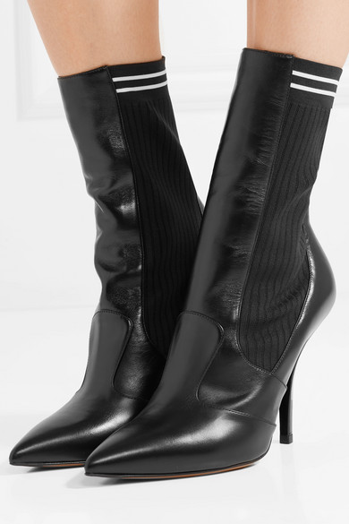 ribbed stretch-knit sock boots