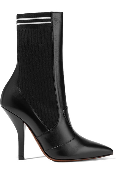 Fendi Boots Rockoko leather and ribbed stretch-knit sock boots