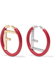 Gold and silver-tone leather hoop earrings