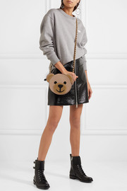 Moschino Teddy appliquéd faux textured-leather shoulder bag