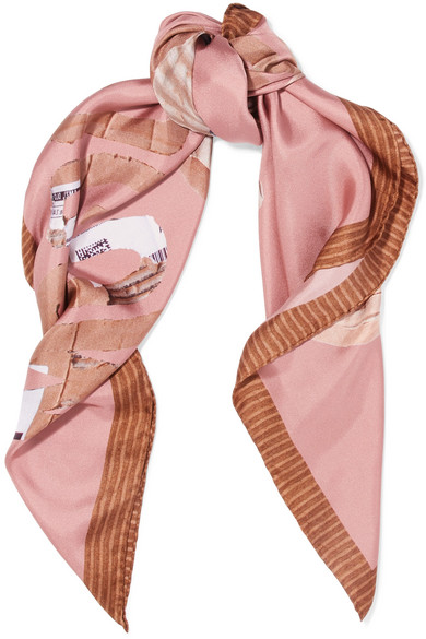 Moschino - Teddy Printed Silk-satin Scarf - Pink
