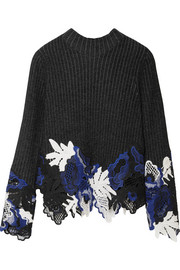 3.1 Phillip Lim Appliquéd ribbed wool-blend sweater