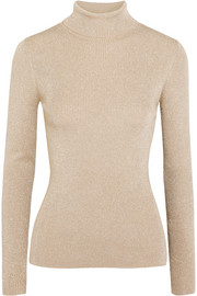 3.1 Phillip Lim Metallic ribbed-knit turtleneck sweater