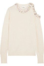 3.1 Phillip Lim Cold-shoulder embellished silk-jersey sweater