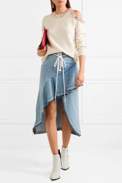 3.1 Phillip Lim Verzierter Pullover aus Seiden-Jersey mit Schulter-Cut-out