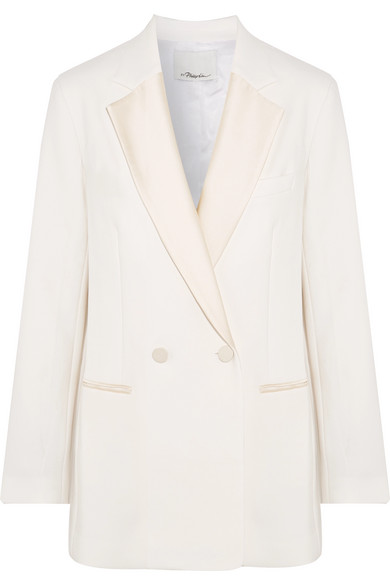 3.1 Phillip Lim Double Breasted Blazer From Crêpe With Satinbesätzen