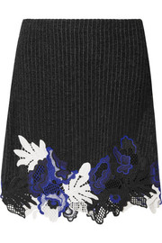 3.1 Phillip Lim Appliquéd ribbed wool-blend mini skirt