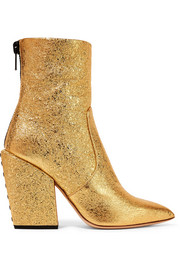 Solar metallic cracked-leather ankle boots