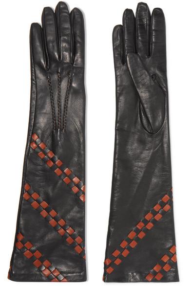 Bottega Veneta - Intrecciato Leather Gloves - Black