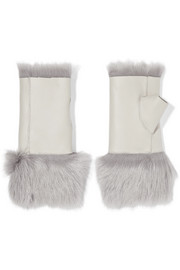 Reversible shearling and leather fingerless gloves