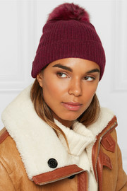 Pompom-embellished ribbed cashmere beanie