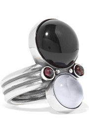Bottega Veneta Silver, onyx and chalcedony ring